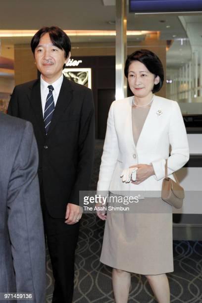 Prince Akishino and Princess Kiko of Akishino are seen on arrival from Hawaii at Haneda Airport on June 9 2018 in Tokyo Japan