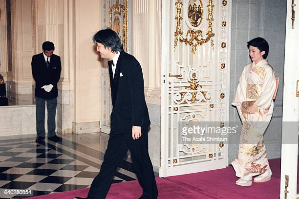 Prince Akishino and Princess Kiko of Akishino are seen on arrival prior to a return reception by Grand Duke Jean and Grand Duchess Josephine...