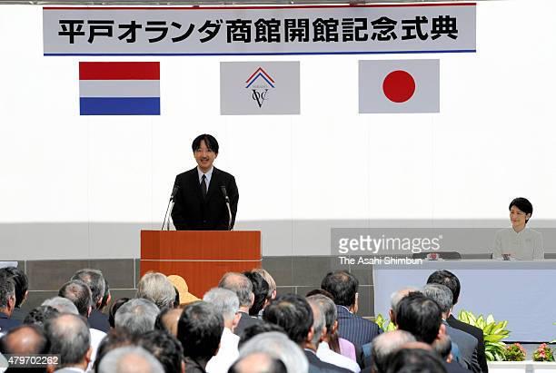 Prince Akishino and Princess Kiko of Akishino attend a ceremony to mark the Hirado Dutch Trading Post restoration on September 17 2011 in Hirado...