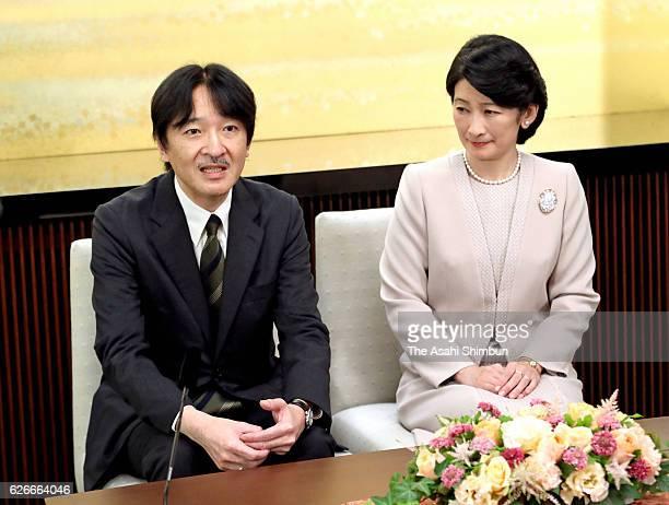 Prince Akishino and Princess Kiko of Akishino attend a press conference ahead of Prince's 51st birthday at his home on November 22 2016 in Tokyo Japan