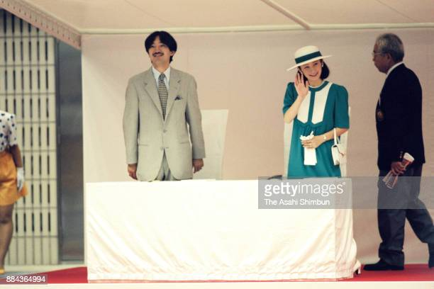 Prince Akishino and Princess Kiko of Akishino attend a swimming competition after the opening ceremony of the National Sports Festival at the Rainbow...