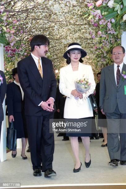 Prince Akishino and Princess Kiko of Akishino attend the 2nd Japan Flower Festival on March 26 1993 in Osaka Japan