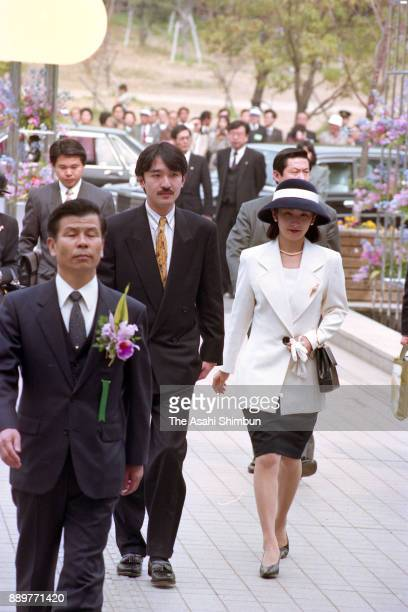 Prince Akishino and Princess Kiko of Akishino attend the 2nd Japan Flower Festival on March 26 1993 in Osaka Japan