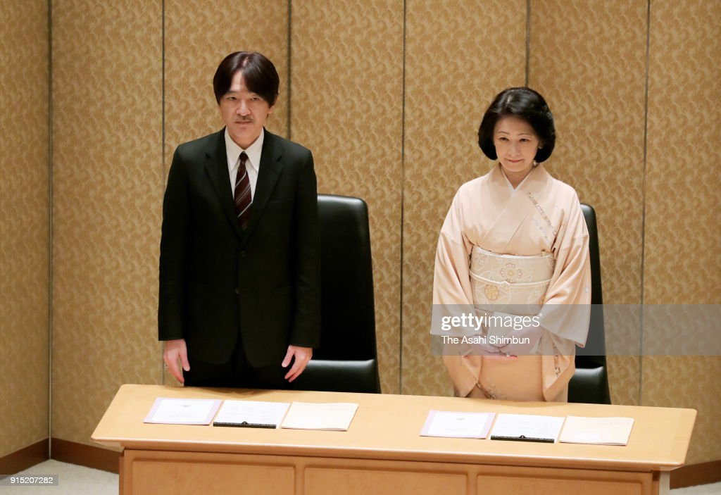 Prince Akishino and Princess Kiko of Akishino attend the Japan Society For the Promotion of Science (JSPS) Prize Award Ceremony at the Japan Academy on February 7, 2018 in Tokyo, Japan.