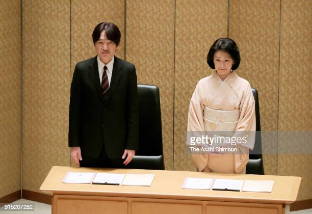 Prince Akishino and Princess Kiko of Akishino attend the Japan Society For the Promotion of Science Prize Award Ceremony at the Japan Academy on...
