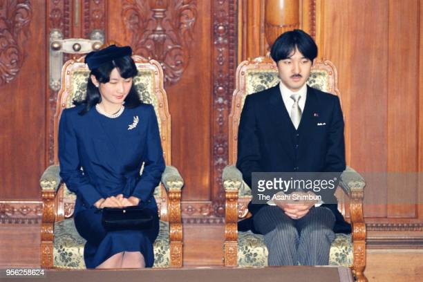 Prince Akishino and Princess Kiko of Akishino attend the Japanese parliament Centenary Ceremony at the Diet building on November 29 1990 in Tokyo...