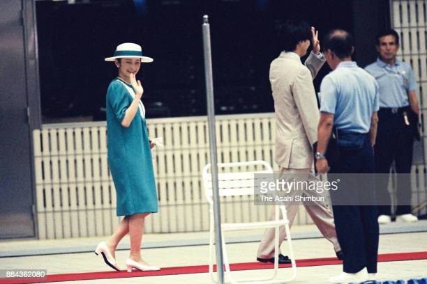 Prince Akishino and Princess Kiko of Akishino attend the opening ceremony of the National Sports Festival at the Rainbow Pool on September 3 1994 in...