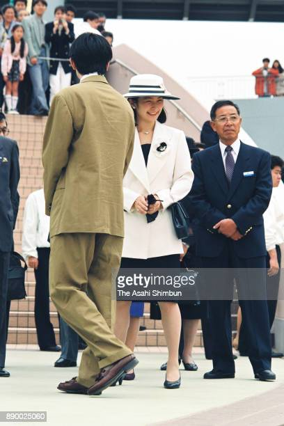 Prince Akishino and Princess Kiko of Akishino attend the opening ceremony of the Hakkeijima Sea Paradise on May 8 1993 in Yokohama Kanagawa Japan