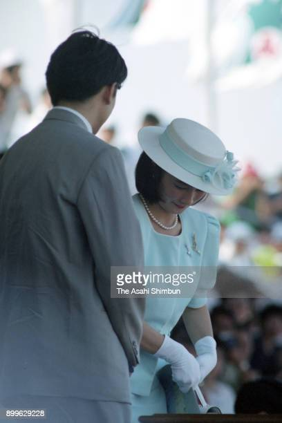 Prince Akishino and Princess Kiko of Akishino attend the opening ceremony of the Inter High School Championships at Miyazaki Prefecture Athletic...
