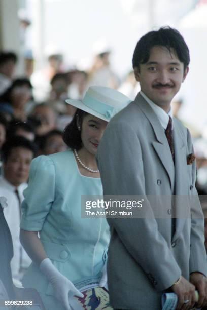 Prince Akishino and Princess Kiko of Akishino attend the opening ceremony of the Inter High School Championships at Miyazaki Prefecture Athletic...