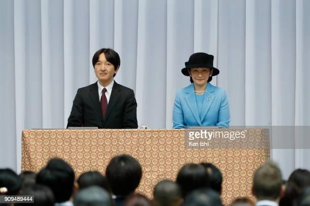 Prince Akishino and Princess Kiko of Akishino attend the sendoff ceremony for the Japanese national team for The PyeongChang 2018 Olympic and...