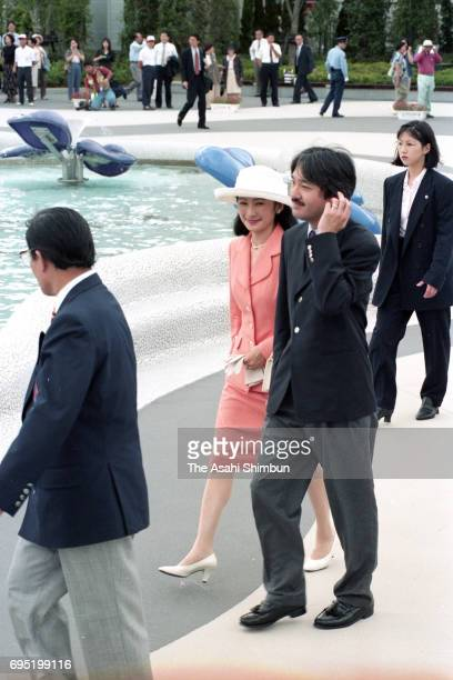 Prince Akishino and Princess Kiko of Akishino inspect the venue of the World Ceramics Exposition on July 18 1996 in Arita Saga Japan