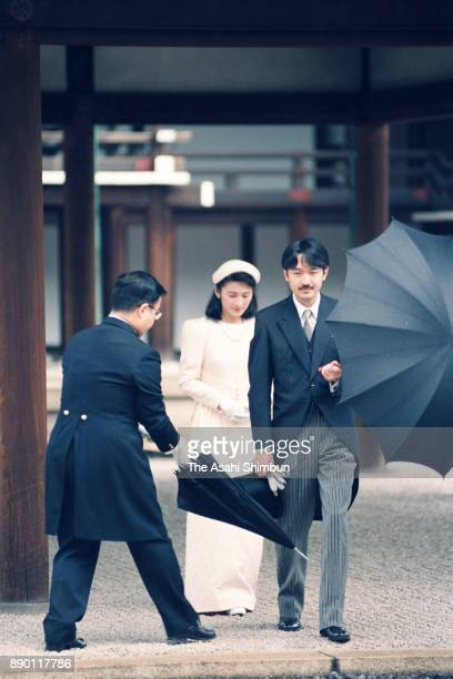 Prince Akishino and Princess Kiko of Akishino pray in front of the Kashikodokoro as a part of the wedding of Crown Prince Naruhito and Masako Owada...