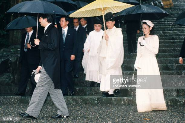 Prince Akishino and Princess Kiko of Akishino visit Ise Jingu Shrine on July 20 1996 in Ise Mie Japan