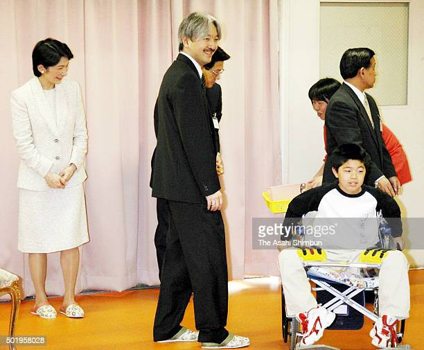 Prince Akishino and Princess Kiko of Akishino visit the Todaiji Welfare Hospital on May 2 2006 in Nara Japan