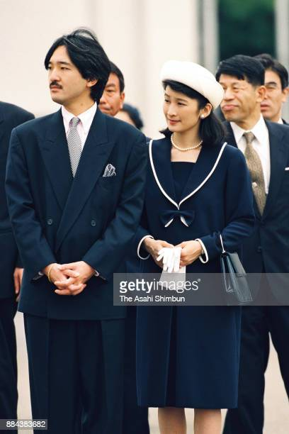 Prince Akishino and Princess Kiko of Akishinosee off Emperor Akihito and Empress Michiko departing for France and Spain at Haneda International...