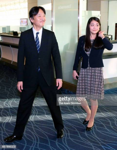Prince Akishino and Princess Mako of Akishino are seen on arrival at Haneda International Airport on August 23 2017 in Tokyo Japan