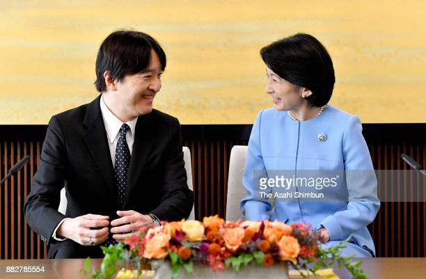 Prince Akishino attends a press conference ahead of his 52nd birthday with his wife Princess Kiko of Akishino at his residence on November 22 2017 in...