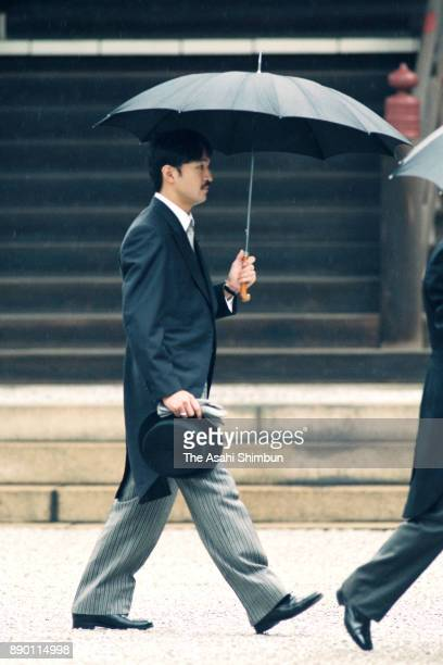 Prince Akishino is seen prior to the royal wedding at the Imperial Palace on June 9 1993 in Tokyo Japan