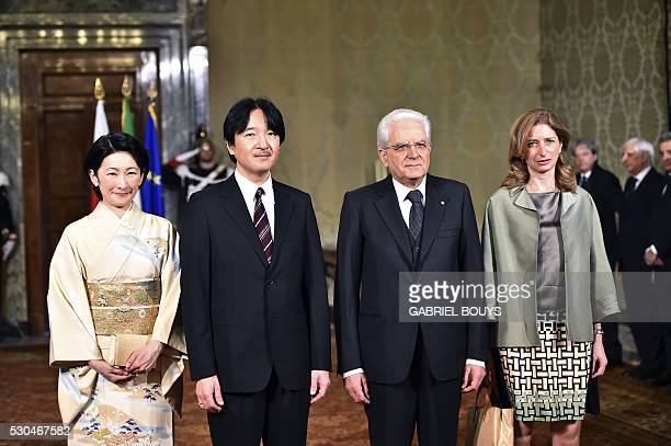 Prince Akishino of Japan and his wife Princess Kiko are welcomed by Italian President Sergio Mattarella 2nd R and and his daughter Laura on May 11...
