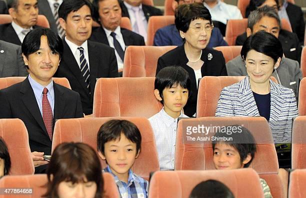 Prince Akishino Prince Hisahito and Princess Kiko of Akishino are seen before an insect documentary movie 'Arinomamadeitai' special screening at the...