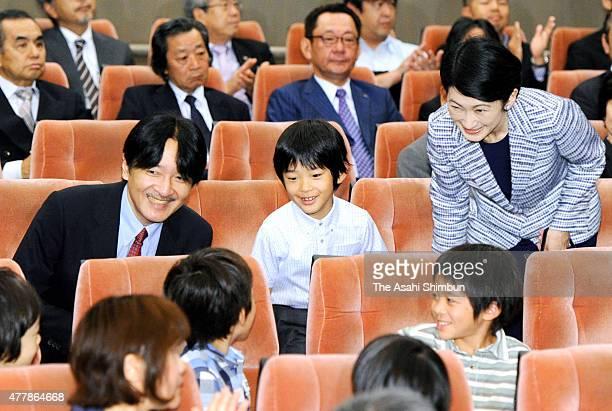 Prince Akishino, Prince Hisahito and Princess Kiko of Akishino are seen before an insect documentary movie 'Ari-no-mama-de-itai' special screening at...