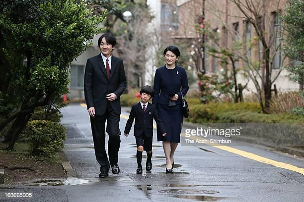 Prince Akishino, Prince Hisahito and Princess Kiko of Akishino arrive at Ochanomizu University Kindergarten on March 14, 2013 in Tokyo, Japan. Prince...