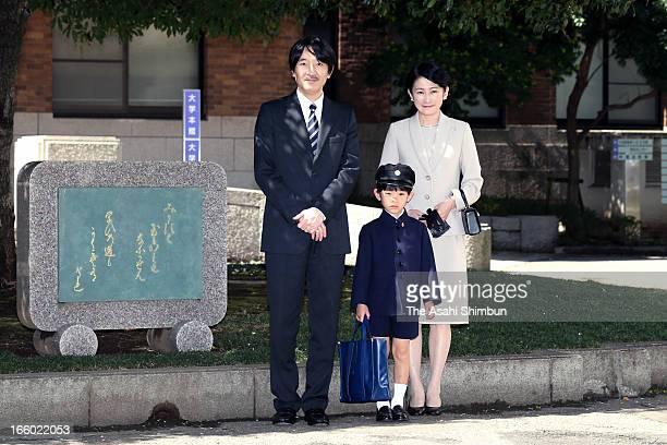 Prince Akishino, Prince Hisahito and Princess Kiko of Akishino pose for photographs at Ochanomizu University Elementary School to attend Prince...