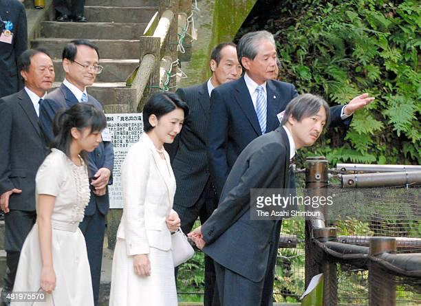 Prince Akishino Princess Kiko and Kako of Akishino visit Takachihokyo Valley on August 3 2010 in Takachiho Miyazaki Japan