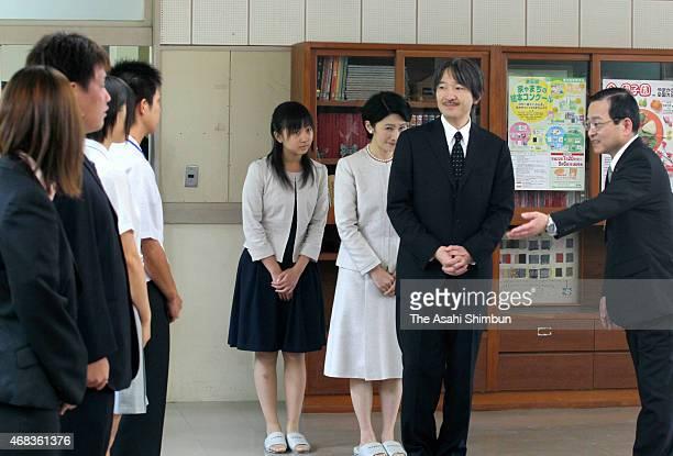 Prince Akishino Princess Kiko and Princess Kako of Akishino are seen during their visit to Takanabe Agriculture High School on August 2 2010 in...