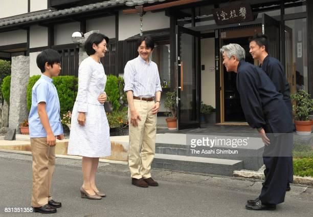 Prince Akishino Princess Kiko of Akishino and Prince Hisahito visit ink brush manufacturer 'Hankeido' on August 10 2017 in Takashima Shiga Japan