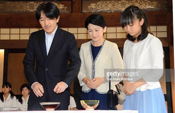 Prince Akishino Princess Kiko of Akishino and Princess Mako of Akishino attends the 36th AllJapan High School Cultural Festival on August 7 2012 in...