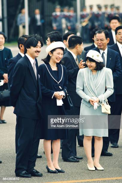 Prince Akishino Princess Kiko of Akishino and Princess Sayako see off Emperor Akihito and Empress Michiko departing for France and Spain at Haneda...