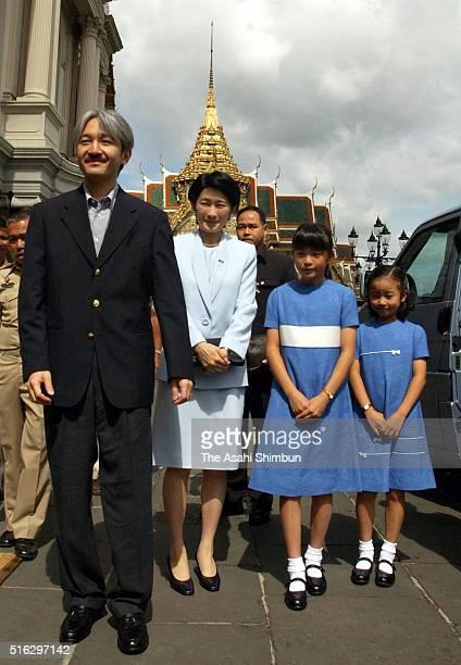 Prince Akishino Princess Kiko Princess Mako and Kako visit Chkri Hama Prasat Hall of the Grand Palace during their visit to Thailand on August 8 2003...