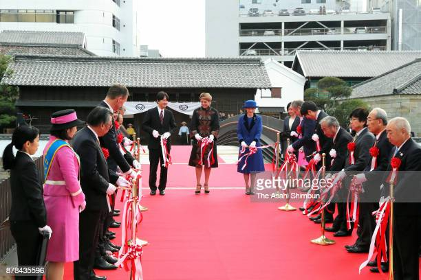Prince Akishino, Princess Laurentien of the Netherlands and Princess Kiko of Akishino attend the tape-cutting ceremony of the new main gate to...