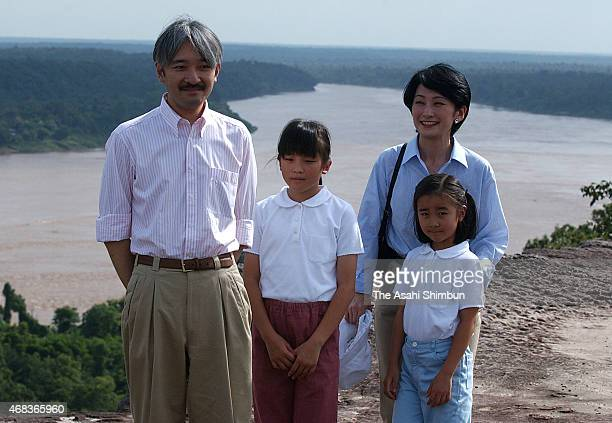Prince Akishino Princess Mako Princess Kako and Princess Kiko of Akishino pose for photographs at the Pha Taem National Park during their visit to...