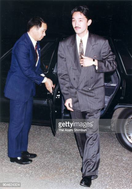 Prince Akishino visits the Imperial Household Agency Hospital to see Princess Kiko on October 23 1991 in Tokyo Japan