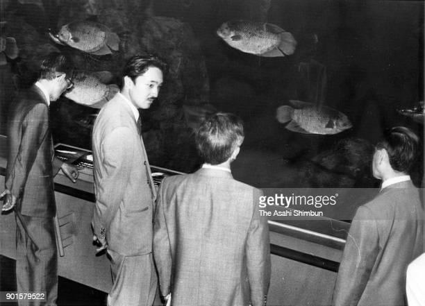 Prince Akishino visits the Toba Aquarium on May 28 1991 in Toba Mie Japan
