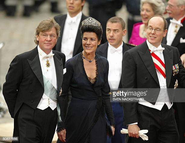 Prince Albert and Princess Caroline of Monaco together with Caroline's husband Prince Ernst August Hannover of Germany arrive at the Cathedral in...