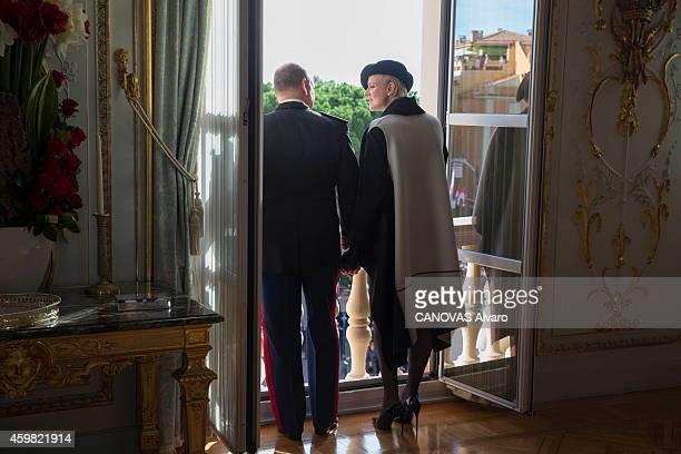 Prince Albert and Princess Charlene de Monaco 8 months pregnant celebrate the National Day in Monaco on November 19 2014