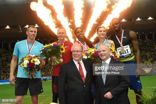 Prince Albert and Usain Bolt of jamaica men's 100 m during the IAAF Diamond League Meeting Herculis on July 21 2017 in Monaco Monaco