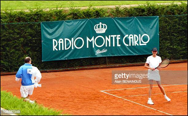 Prince Albert de Monaco and his friend Alexandra Kamp participate in tennis tournament of the forty-second film festival of Monaco in Monaco on July...