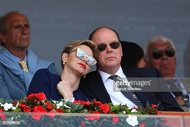 Prince Albert de Monaco and Princess Charlene of Monaco during the day eight of the Monte Carlo Rolex Masters tennis at Monte Carlo on April 17 2016...