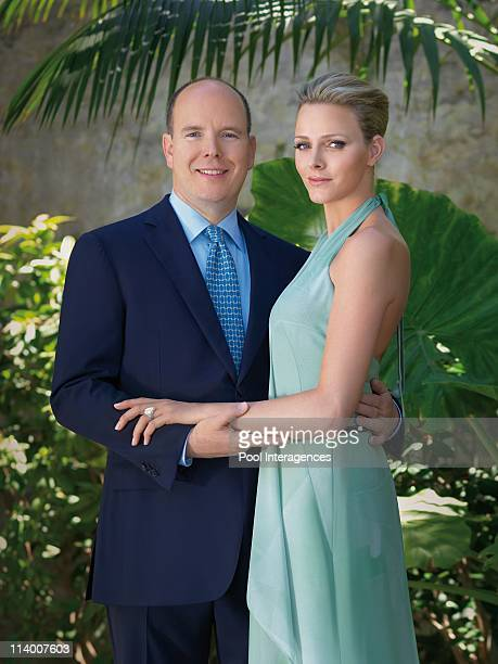 Prince Albert II and Charlene Wittstock engaged - official portrait In Monte Carlo, monaco On June 23, 2010.