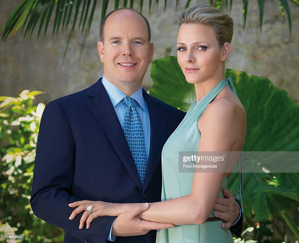 Prince Albert II and Charlene Wittstock engaged - official portrait In Monte Carlo, monaco On June 23, 2010- : News Photo