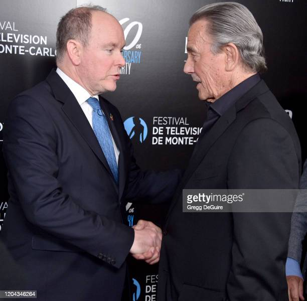 Prince Albert II and Eric Braeden attend the 60th Anniversary Party For The Monte-Carlo TV Festival at Sunset Tower Hotel on February 05, 2020 in...