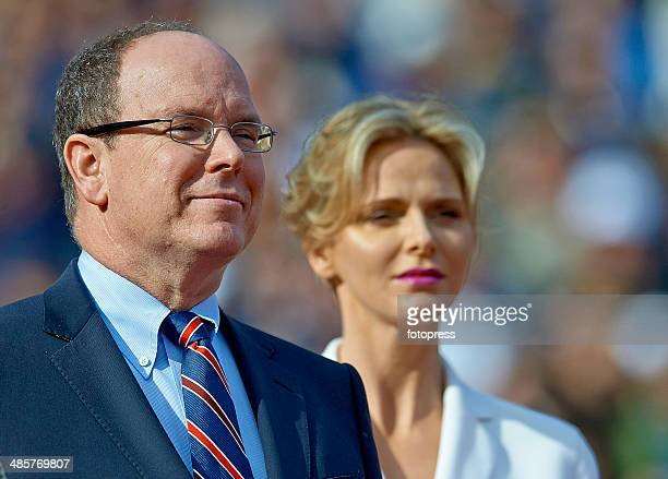Prince Albert II and Princess Charlene attend the presentation ceremony for the final on day eight of the ATP Monte Carlo Masters at the MonteCarlo...