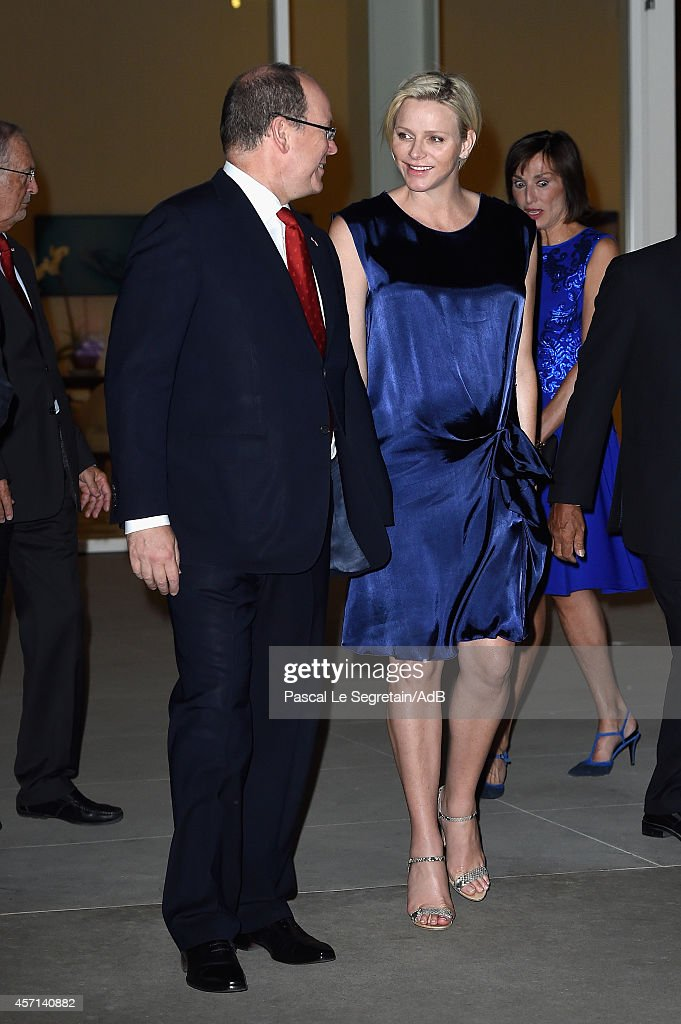 Prince Albert II and Princess Charlene of Monaco arrive to attend 'Prince Albert II of Monaco's Foundation' Award Ceremony on October 12, 2014 in Palm Springs, California.