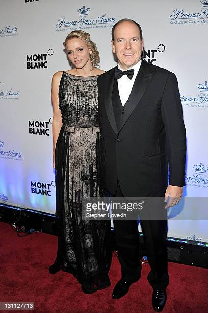 H Prince Albert II and Princess Charlene of Monaco attend Princess Grace Awards Gala at Cipriani 42nd Street on November 1 2011 in New York City
