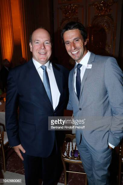 Prince Albert II de Monaco and Cochairman of the Organizing committee of the Olympic Games of Paris 2024 Tony Estanguet attend the Ryder Cup Dinner...